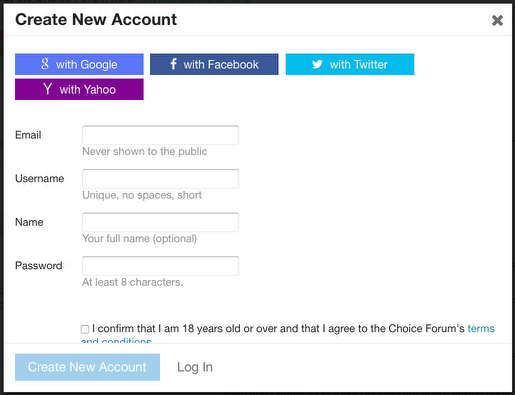 Create New Account form